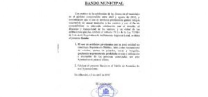 Se comunica, mediante bando municipal, la prohibición expresa del uso de artefactos pirotécnicos